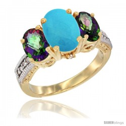 14K Yellow Gold Ladies 3-Stone Oval Natural Turquoise Ring with Mystic Topaz Sides Diamond Accent