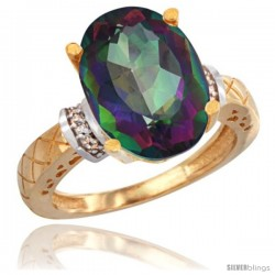 14k Yellow Gold Diamond Mystic Topaz Ring 5.5 ct Oval 14x10 Stone