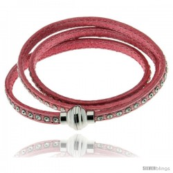 Surgical Steel Italian Leather Wrap Massai Bracelet Swarovski Crystal inlay w/ Super Magnet Clasp, Color Pink.