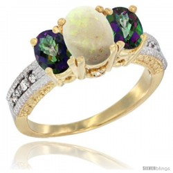 14k Yellow Gold Ladies Oval Natural Opal 3-Stone Ring with Mystic Topaz Sides Diamond Accent