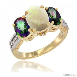 14K Yellow Gold Ladies 3-Stone Oval Natural Opal Ring with Mystic Topaz Sides Diamond Accent
