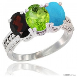 14K White Gold Natural Garnet, Peridot & Turquoise Ring 3-Stone 7x5 mm Oval Diamond Accent