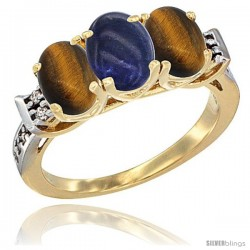 10K Yellow Gold Natural Lapis & Tiger Eye Sides Ring 3-Stone Oval 7x5 mm Diamond Accent