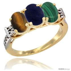 10K Yellow Gold Natural Tiger Eye, Lapis & Malachite Ring 3-Stone Oval 7x5 mm Diamond Accent