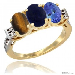 10K Yellow Gold Natural Tiger Eye, Lapis & Tanzanite Ring 3-Stone Oval 7x5 mm Diamond Accent