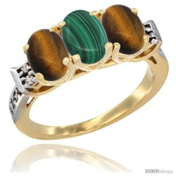 10K Yellow Gold Natural Malachite & Tiger Eye Sides Ring 3-Stone Oval 7x5 mm Diamond Accent