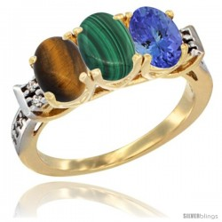 10K Yellow Gold Natural Tiger Eye, Malachite & Tanzanite Ring 3-Stone Oval 7x5 mm Diamond Accent