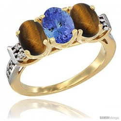10K Yellow Gold Natural Tanzanite & Tiger Eye Sides Ring 3-Stone Oval 7x5 mm Diamond Accent