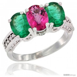 14K White Gold Natural Pink Topaz & Emerald Sides Ring 3-Stone 7x5 mm Oval Diamond Accent