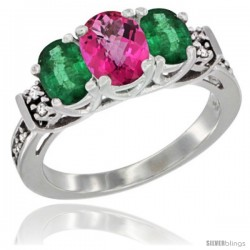 14K White Gold Natural Pink Topaz & Emerald Ring 3-Stone Oval with Diamond Accent