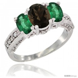 14k White Gold Ladies Oval Natural Smoky Topaz 3-Stone Ring with Emerald Sides Diamond Accent