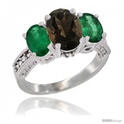 14K White Gold Ladies 3-Stone Oval Natural Smoky Topaz Ring with Emerald Sides Diamond Accent