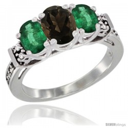 14K White Gold Natural Smoky Topaz & Emerald Ring 3-Stone Oval with Diamond Accent