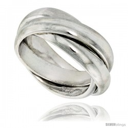 Sterling Silver Rolling Ring w/ 5 mm Domed Bands Handmade