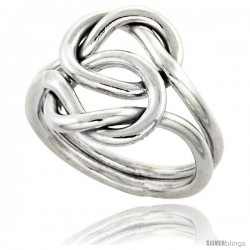 Sterling Silver Love Knot Wire Wrap Ring Handmade 5/8 in wide