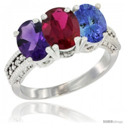 10K White Gold Natural Amethyst, Ruby & Tanzanite Ring 3-Stone Oval 7x5 mm Diamond Accent