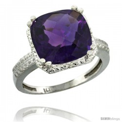 10k White Gold Diamond Amethyst Ring 5.94 ct Checkerboard Cushion 11 mm Stone 1/2 in wide