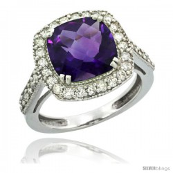 10k White Gold Diamond Halo Amethyst Ring Checkerboard Cushion 9 mm 2.4 ct 1/2 in wide