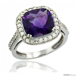 10k White Gold Diamond Halo Amethyst Ring Cushion Shape 10 mm 4.5 ct 1/2 in wide