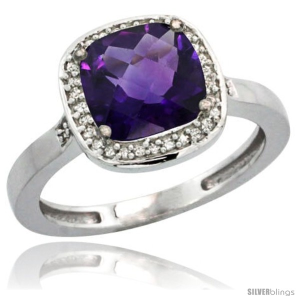 https://www.silverblings.com/42281-thickbox_default/10k-white-gold-diamond-amethyst-ring-2-08-ct-checkerboard-cushion-8mm-stone-1-2-08-in-wide.jpg