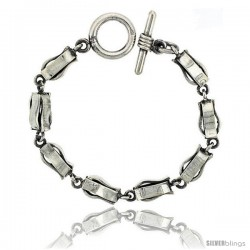 Sterling Silver Curvy Long Box Chain Link Bracelet Toggle Clasp Handmade 3/8 in wide