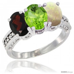 14K White Gold Natural Garnet, Peridot & Opal Ring 3-Stone 7x5 mm Oval Diamond Accent