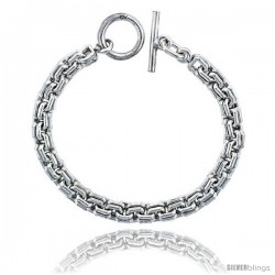 Sterling Silver Double Square Links Bracelet Toggle Clasp Handmade 5/16 in wide