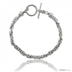 Sterling Silver Oval Tight Link Bracelet Toggle Clasp Handmade 1/4 in wide