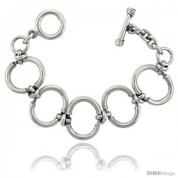 Sterling Silver Oval Cut-out Link Bracelet Toggle Clasp Handmade 1 in wide
