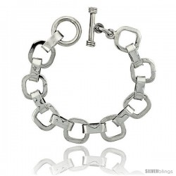 Sterling Silver Cushion Cut-out Link Bracelet Toggle Clasp Handmade 3/4 in wide