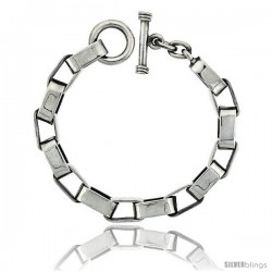 Sterling Silver Oval Cut-out Link Bracelet Toggle Clasp Handmade 1/2 in wide