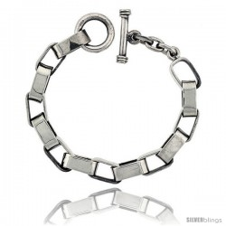 Sterling Silver Oval Cut-out Link Bracelet Toggle Clasp Handmade 3/8 in wide
