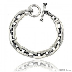 Sterling Silver Oval Cut-out Link Bracelet Toggle Clasp Handmade 1/2 in wide -Style Lx446
