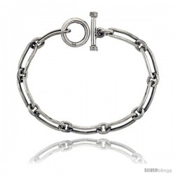 Sterling Silver Oval Cut-out Link Bracelet Toggle Clasp Handmade 5/16 in wide