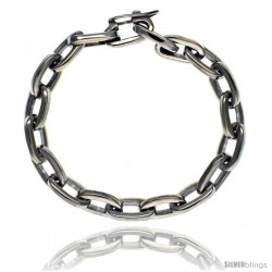 Sterling Silver Oval Cut-out Link Bracelet Toggle Clasp Handmade 1/2 in wide -Style Lx448