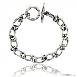 Sterling Silver Oval Cut-out Link Bracelet Toggle Clasp Handmade 3/8 in wide -Style Lx449