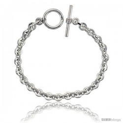 Sterling Silver Round & Oval Link Bracelet Toggle Clasp Handmade 1/4 in wide