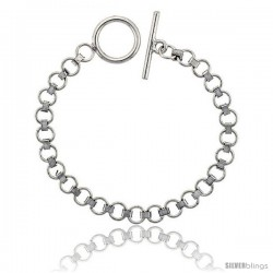 Sterling Silver Round Link Bracelet Toggle Clasp Handmade 9/32 in wide
