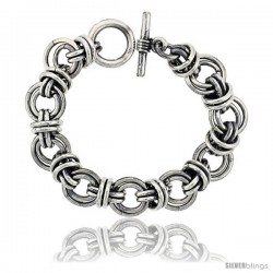 Sterling Silver Double Circles Doughnut Link Bracelet Toggle Clasp Handmade 3/4 in wide