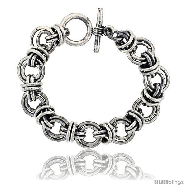 https://www.silverblings.com/42321-thickbox_default/sterling-silver-double-circles-doughnut-link-bracelet-toggle-clasp-handmade-3-4-in-wide.jpg