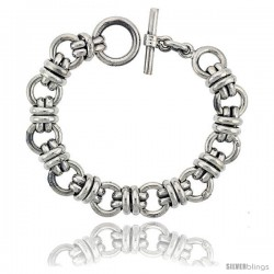 Sterling Silver Doughnut Circles Link Bracelet Toggle Clasp Handmade 5/8 in wide