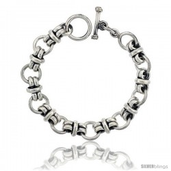 Sterling Silver Circles Link Bracelet Toggle Clasp Handmade 1/2 in wide