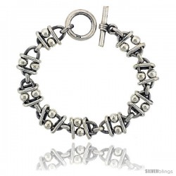 Sterling Silver Beaded Oval Link Bracelet Toggle Clasp Handmade 5/8 in wide
