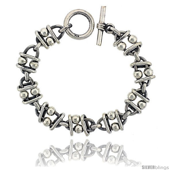 https://www.silverblings.com/42331-thickbox_default/sterling-silver-beaded-oval-link-bracelet-toggle-clasp-handmade-5-8-in-wide.jpg