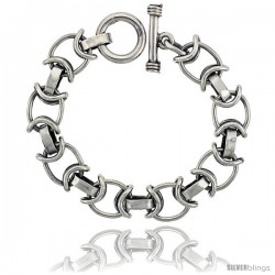 Sterling Silver Oval Link Bracelet Toggle Clasp Handmade 1/2 in wide -Style Lx459