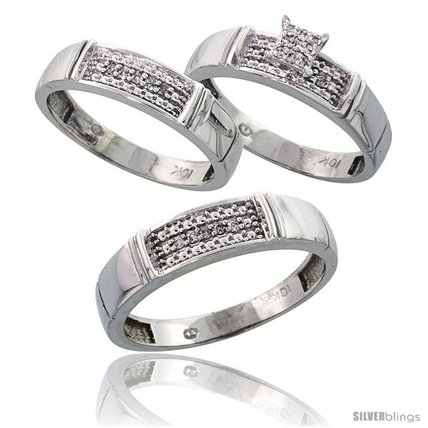 3 piece wedding ring sets for him and her 10k white gold trio engagement wedding ring 3 1094
