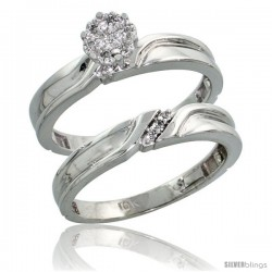 10k White Gold Diamond Engagement Rings Set 2-Piece 0.07 cttw Brilliant Cut, 1/8 in wide -Style Ljw008e2