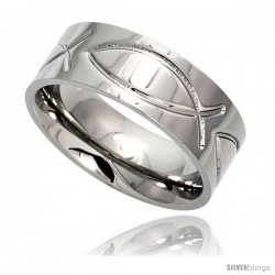 Surgical Steel Christian Fish Ring 8mm Ichthys Wedding Band Comfort-Fit