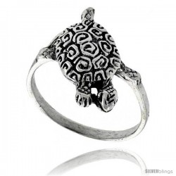 Sterling Silver Swirl Designed Turtle Ring