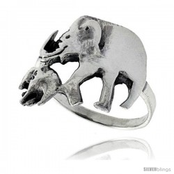 Sterling Silver Mother & Baby Elephant Ring